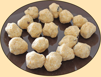 Chick Pea Balls rolled and ready to be dipped on batter